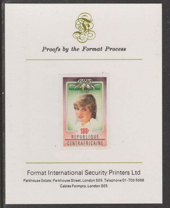 Central African Republic 1982 Birth of Prince William opt on Royal Wedding 100f imperf proof mounted on Format International proof card, as SG 865