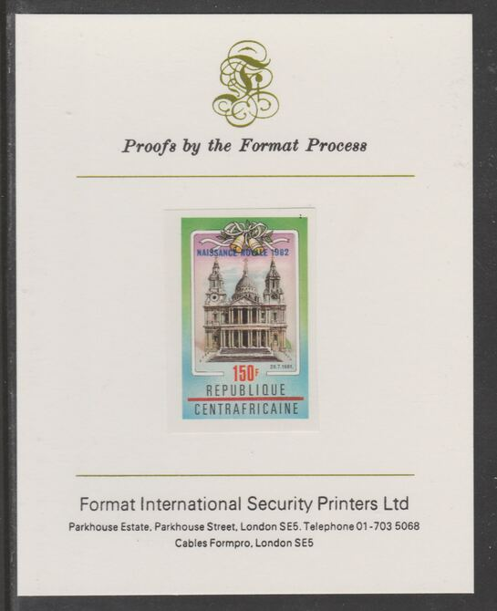 Central African Republic 1982 Birth of Prince William opt on Royal Wedding 150f imperf proof mounted on Format International proof card, as SG 866
