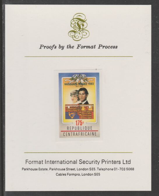 Central African Republic 1982 Birth of Prince William opt on Royal Wedding 175f imperf proof mounted on Format International proof card, as SG 867