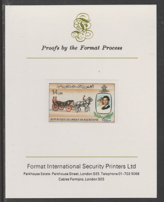 Mauritania 1981 Royal Wedding 14um imperf proof mounted on Format International proof card, as SG 701