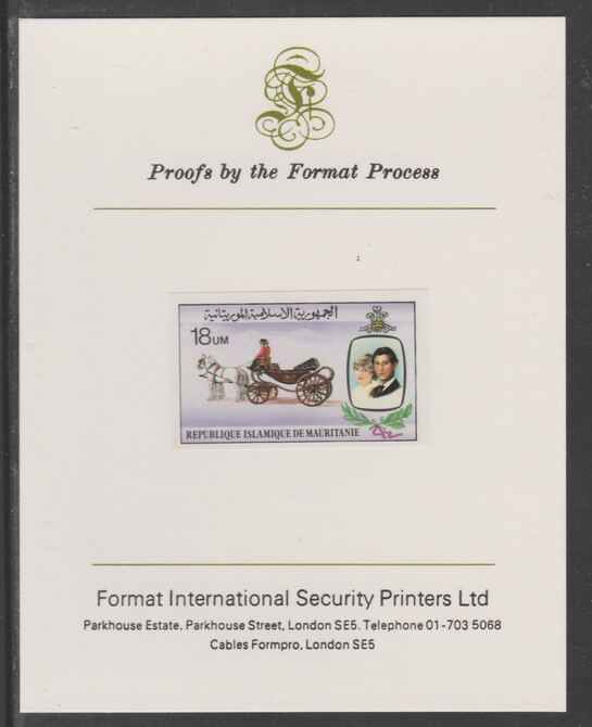 Mauritania 1981 Royal Wedding 18um imperf proof mounted on Format International proof card, as SG 702