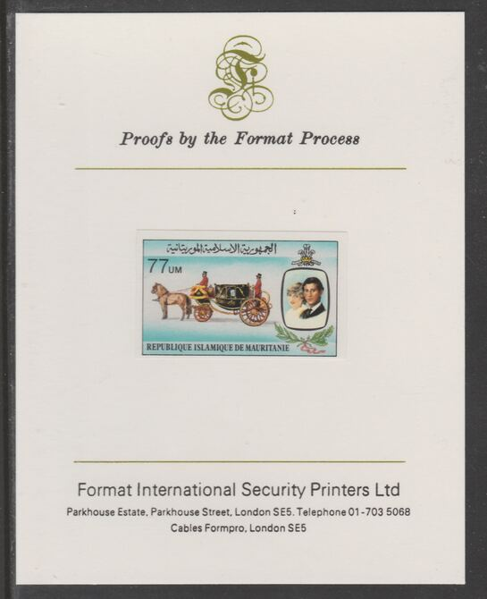 Mauritania 1981 Royal Wedding 77um imperf proof mounted on Format International proof card, as SG 703