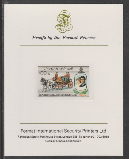 Mauritania 1981 Royal Wedding 100um (ex m/sheet) imperf proof mounted on Format International proof card, as SG MS704