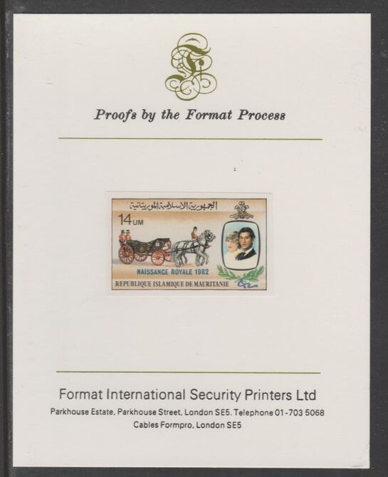 Mauritania 1982 Birth of Prince William opt on Royal Wedding 14um imperf proof mounted on Format International proof card, as SG 739