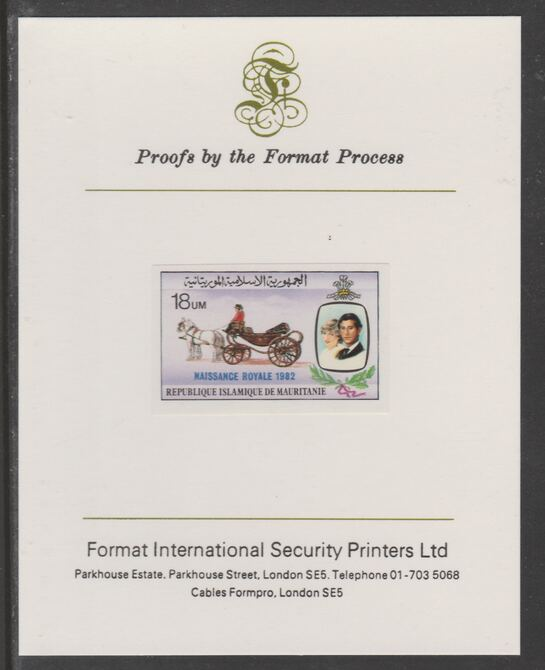 Mauritania 1982 Birth of Prince William opt on Royal Wedding 18um imperf proof mounted on Format International proof card, as SG 740