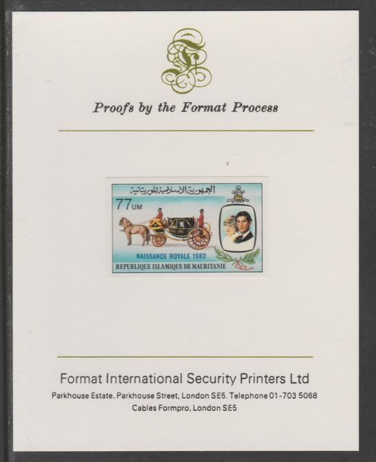 Mauritania 1982 Birth of Prince William opt on Royal Wedding 77um imperf proof mounted on Format International proof card, as SG 741
