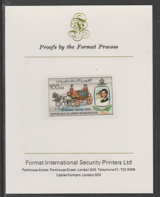 Mauritania 1982 Birth of Prince William opt on Royal Wedding 100um (ex m/sheet) imperf proof mounted on Format International proof card, as SG MS742