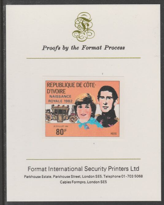Ivory Coast 1982 Birth of Prince William opt on Royal Wedding 80f imperf proof mounted on Format International proof card, as SG 730