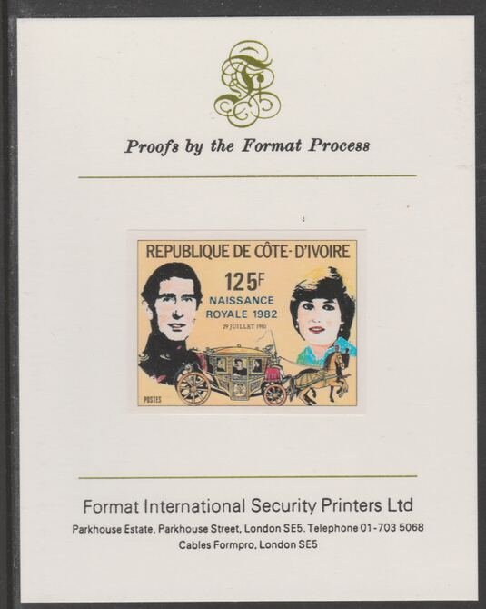 Ivory Coast 1982 Birth of Prince William opt on Royal Wedding 125f imperf proof mounted on Format International proof card, as SG 732