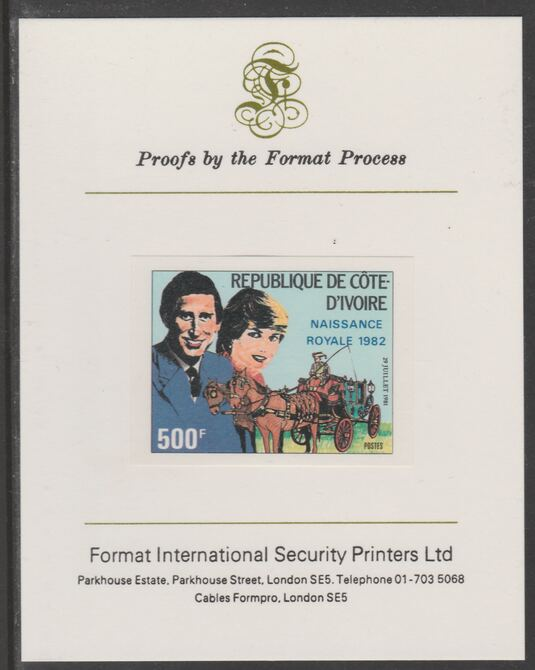 Ivory Coast 1982 Birth of Prince William opt on Royal Wedding 500f (ex m/sheet) imperf proof mounted on Format International proof card, as SG MS733