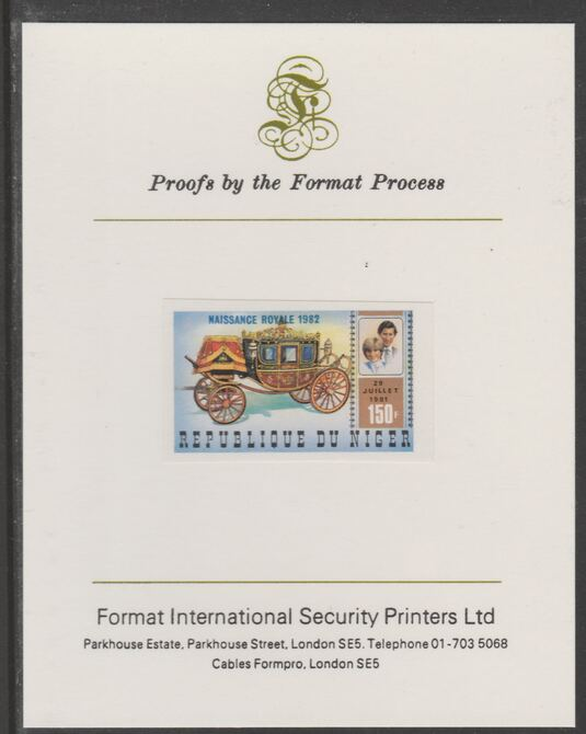 Niger Republic 1982 Birth of Prince William opt on Royal Wedding 150f imperf proof mounted on Format International proof card, as SG 905
