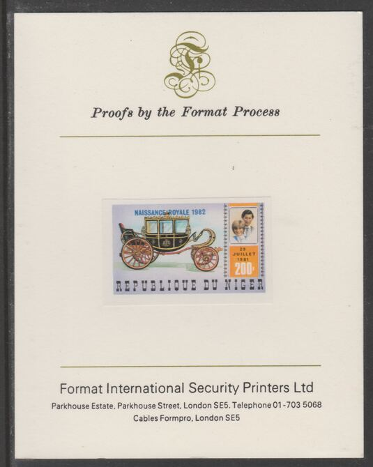 Niger Republic 1982 Birth of Prince William opt on Royal Wedding 200f imperf proof mounted on Format International proof card, as SG 906