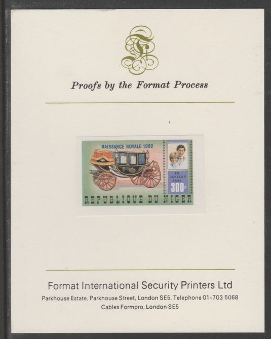 Niger Republic 1982 Birth of Prince William opt on Royal Wedding 300f imperf proof mounted on Format International proof card, as SG 907