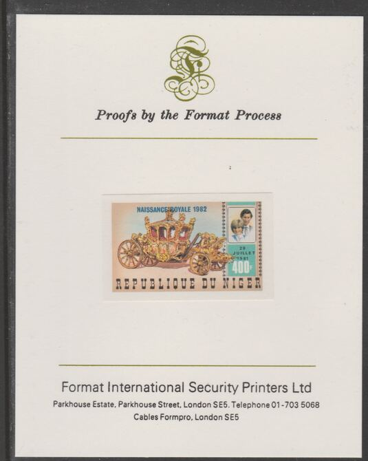 Niger Republic 1982 Birth of Prince William opt on Royal Wedding 400f (ex m/sheet) imperf proof mounted on Format International proof card, as SG MS908