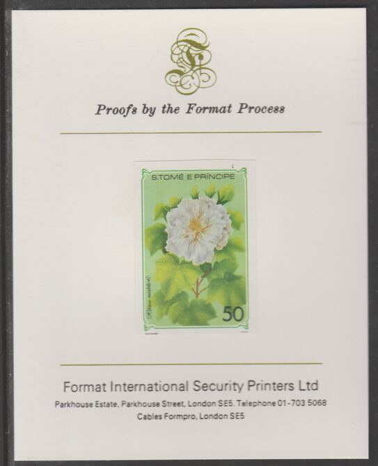 St Thomas & Prince Islands 1979 Flowers 50E imperf proof (ex m/sheet) mounted on Format International proof card