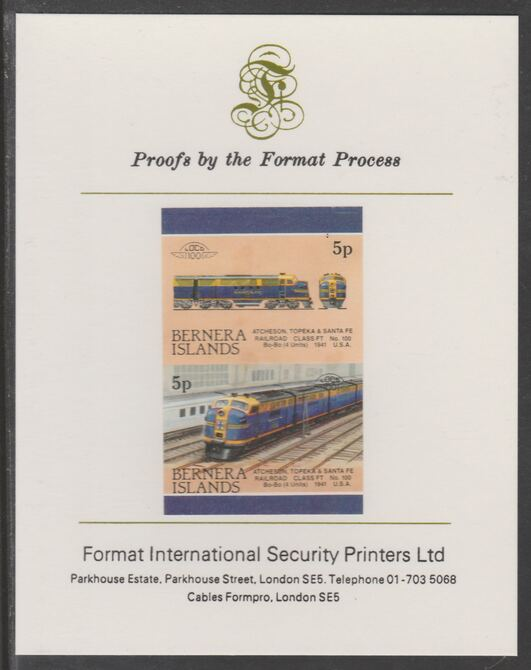 Bernera 1983 Locomotives #2 (Atcheson, Topeka & Santa Fe) 5p se-tenant imperf proof pair mounted on Format International proof card