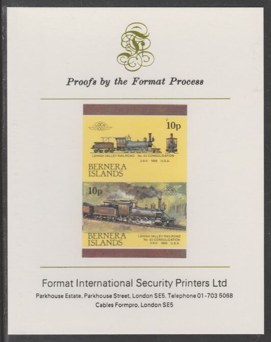 Bernera 1983 Locomotives #2 (Lehigh Valley Railroad) 10p se-tenant imperf proof pair mounted on Format International proof card