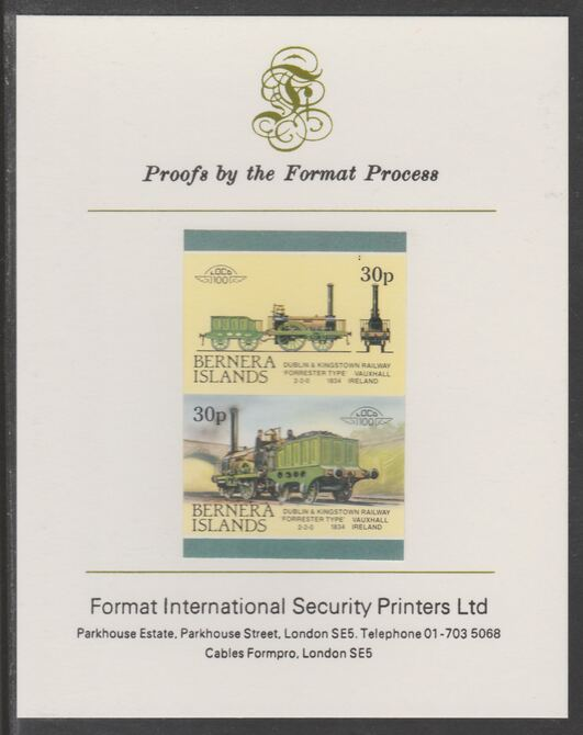 Bernera 1983 Locomotives #2 (Dublin & Kingstown Railway) 30p se-tenant imperf proof pair mounted on Format International proof card