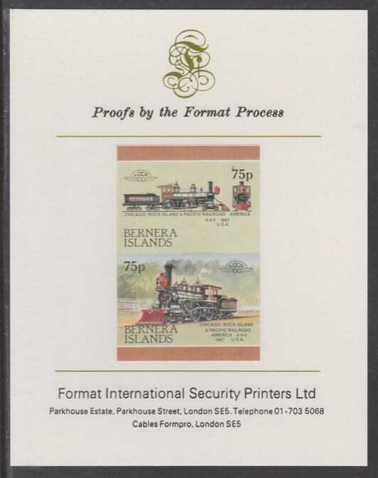 Bernera 1983 Locomotives #2 (Chicago, Rock Island & Pacific Railroad) 75p se-tenant  imperf proof pair mounted on Format International proof card