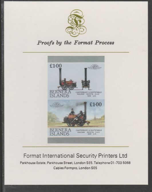 Bernera 1983 Locomotives #2 (Canterbury & Whitstable Rly) £1 se-tenant  imperf proof pair mounted on Format International proof card, stamps on railways