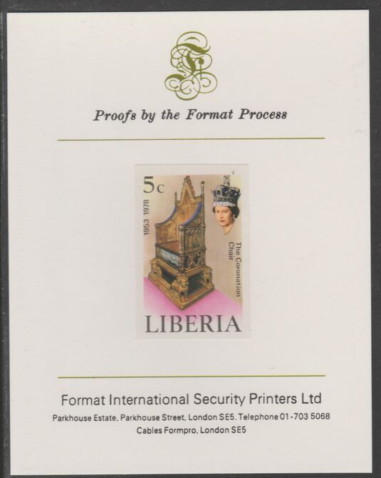 Liberia 1978 Coronation 25th Anniversary 5c Coronation Chair imperf proof mounted on Format International proof card, as SG 1348