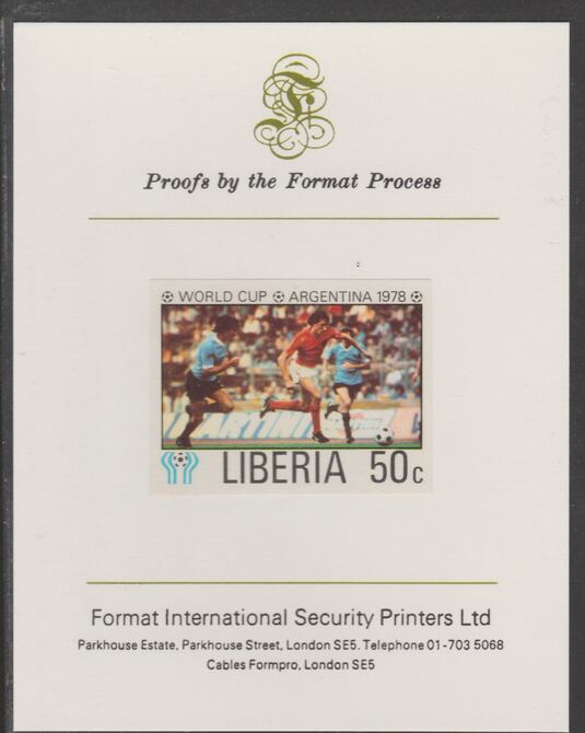 Liberia 1978 Football World Cup 50c imperf proof mounted on Format International proof card, as SG 1346