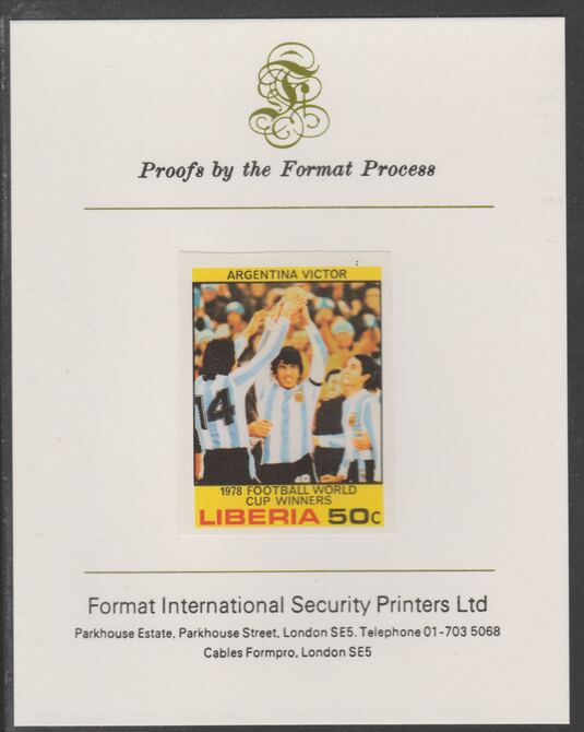 Liberia 1978 Football World Cup Winners 50c Argentina with Cup imperf proof mounted on Format International proof card, as SG 1361