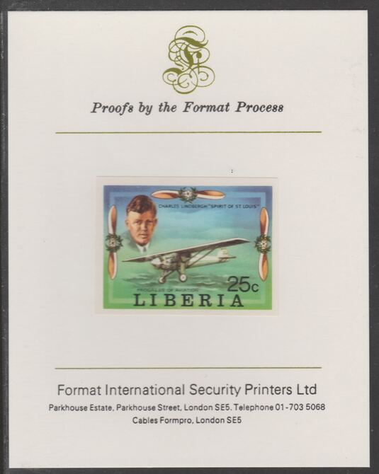 Liberia 1978 Progress in Aviation 25c Charles Lindbergh & Spirit of St Louis imperf proof mounted on Format International proof card, as SG 1330