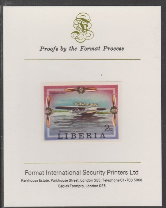 Liberia 1978 Progress in Aviation 2c Dornier DO-X Flying Boat imperf proof mounted on Format International proof card, as SG 1327