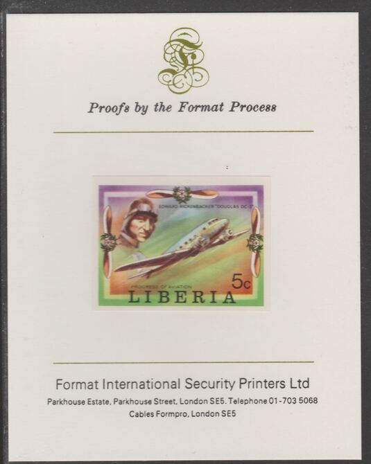 Liberia 1978 Progress in Aviation 5c Douglad DC-3 imperf proof mounted on Format International proof card, as SG 1329