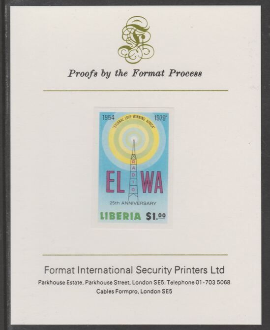 Liberia 1979 25th Anniversary of Radio ELWA $1 imperf proof mounted on Format International proof card, as SG 1370