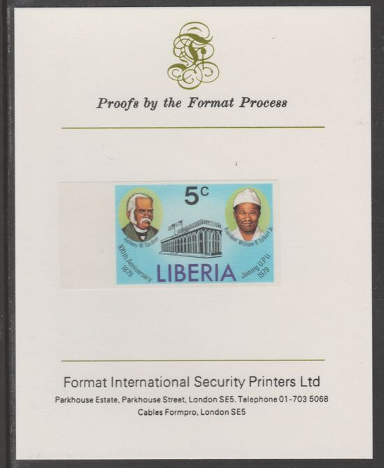 Liberia 1979 Centenary of Joining UPU 5c imperf proof mounted on Format International proof card, as SG 1367