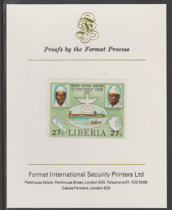 Liberia 1980 Mano River & UPU Anniversarys 27c imperf proof mounted on Format International proof card, as SG 1457