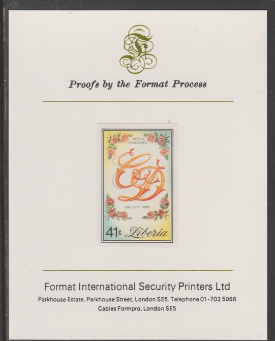 Liberia 1981 Royal Wedding 41c imperf proof mounted on Format International proof card, as SG 1491