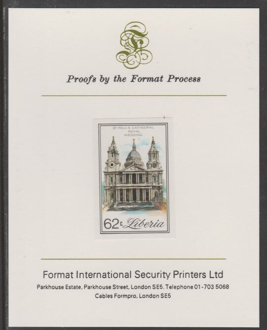 Liberia 1981 Royal Wedding 62c imperf proof mounted on Format International proof card, as SG 1492