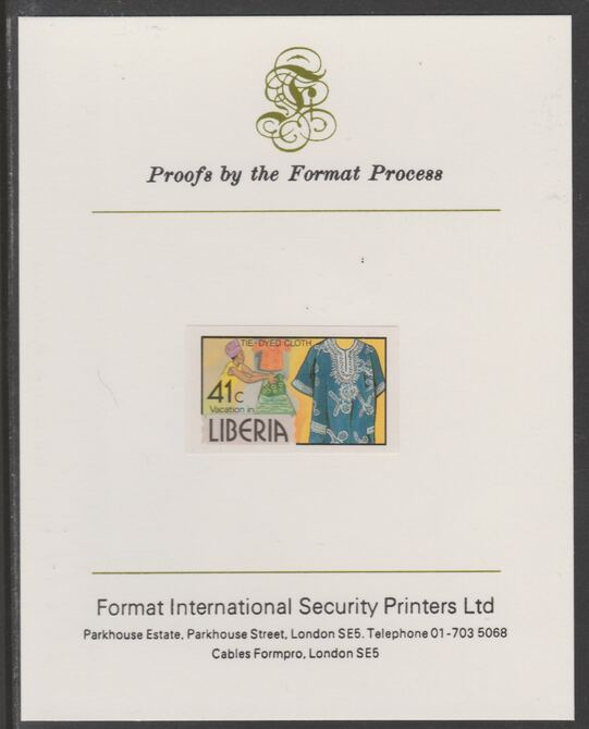 Liberia 1981 Tie-dyed Cloth 41c imperf proof mounted on Format International proof card, as SG 1509, stamps on textiles
