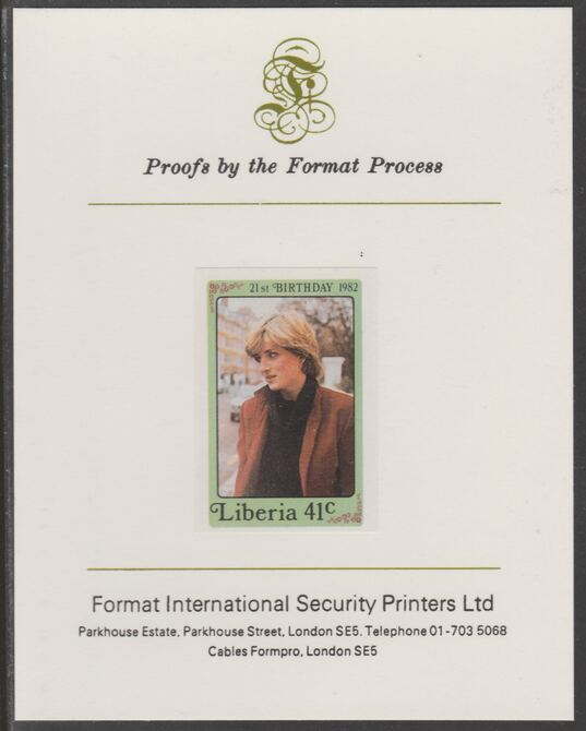 Liberia 1982 Princess Di's 21st Birthday 41c imperf proof mounted on Format International proof card, as SG 1530