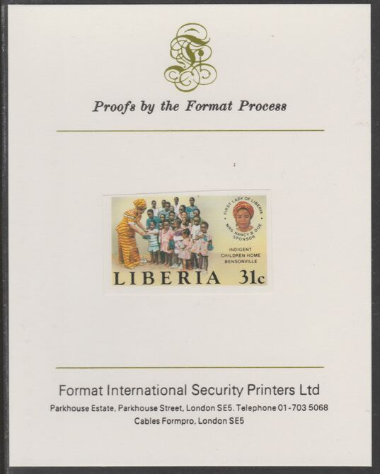 Liberia 1984 Children's Home 31c imperf proof mounted on Format International proof card, as SG 1596