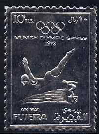 Fujeira 1972 Munich Olympic Games 10r Diving perf embossed in silver foil unmounted mint as Mi 1281A