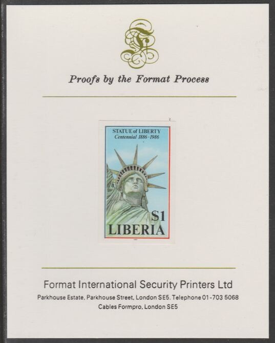 Liberia 1986 Statue of Liberty Centenary $1 imperf proof mounted on Format International proof card, as SG 1630