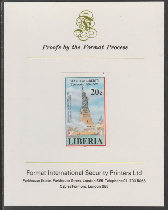 Liberia 1986 Statue of Liberty Centenary 20c imperf proof mounted on Format International proof card, as SG 1628