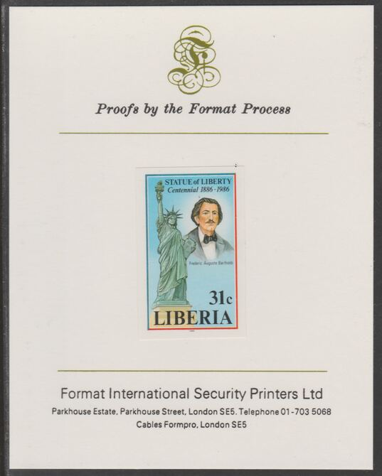 Liberia 1986 Statue of Liberty Centenary 31c imperf proof mounted on Format International proof card, as SG 1629