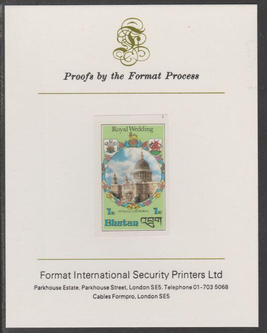 Bhutan 1981 Royal Wedding 1n imperf proof mounted on Format International proof card, as SG 440