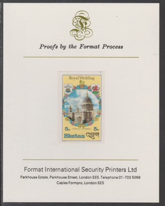 Bhutan 1981 Royal Wedding 5n imperf proof mounted on Format International proof card, as SG 441
