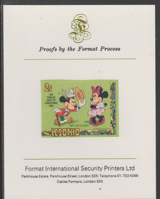 Lesotho 1982 Disney Christmas - Twelve Days of Christmas 2c Two Turtle Doves imperf proof mounted on Format International proof card, as SG 524
