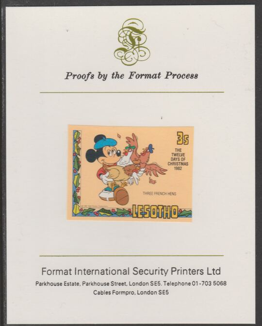 Lesotho 1982 Disney Christmas - Twelve Days of Christmas 3c Three French Hens imperf proof mounted on Format International proof card, as SG 525