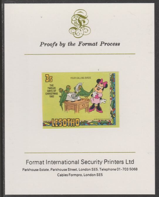 Lesotho 1982 Disney Christmas - Twelve Days of Christmas 3c Four Calling Birds imperf proof mounted on Format International proof card, as SG 526