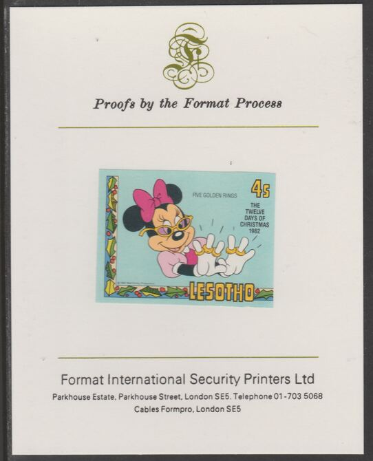 Lesotho 1982 Disney Christmas - Twelve Days of Christmas 4c Five Golden Rings imperf proof mounted on Format International proof card, as SG 527