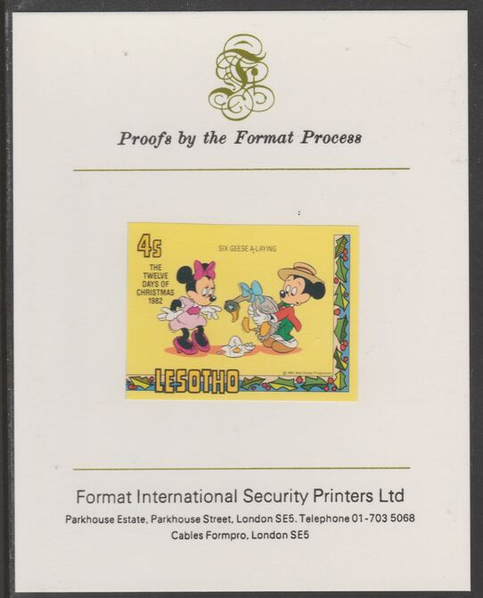 Lesotho 1982 Disney Christmas - Twelve Days of Christmas 4c Six Geese A-Laying imperf proof mounted on Format International proof card, as SG 528