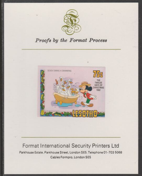 Lesotho 1982 Disney Christmas - Twelve Days of Christmas 75c Seven Swans A-Swimming imperf proof mounted on Format International proof card, as SG 529